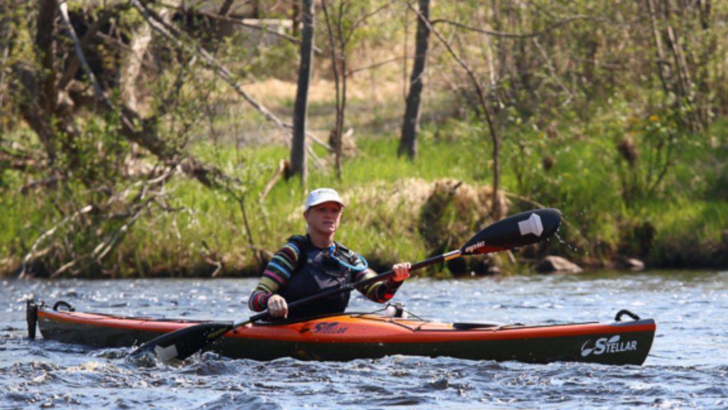 Peggy Gabrielson kayaking.