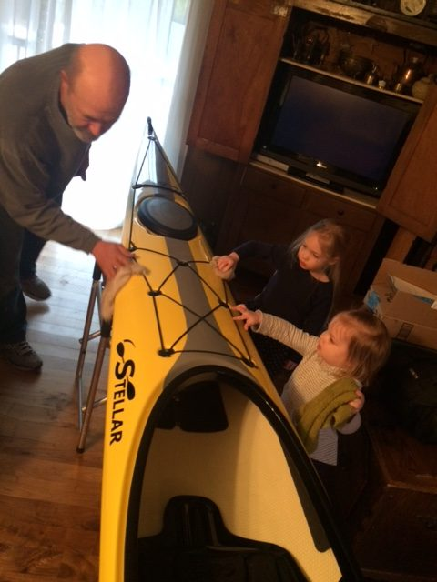Cleaning top of Kayak.