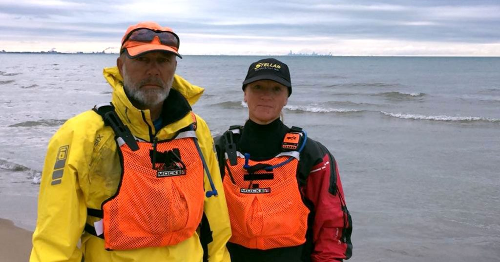 Joe Zellner and Peggy Gabrielson from 2 Paddling 5 on Marquette Park in Miller, Indiana.