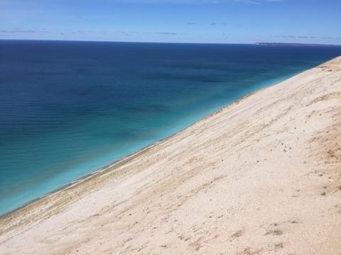 Blue water and white sandy beaches near Glen Haven, Michigan.