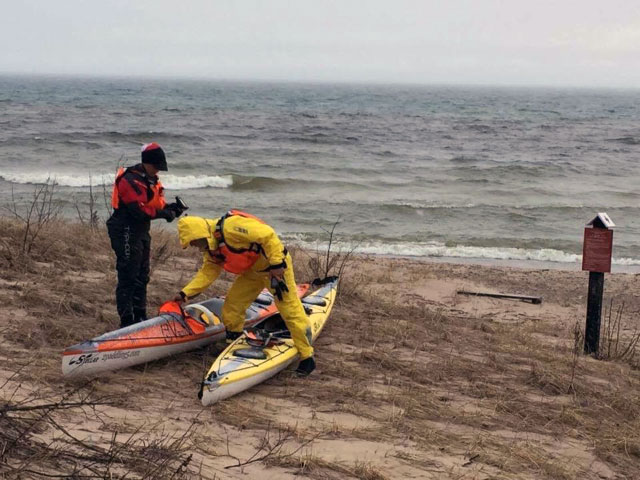 Choppy lake kayak launch at Hoeft State Park Michigan. .