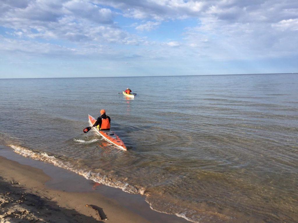 Kayaking Grand Haven Harbor, Michigan.