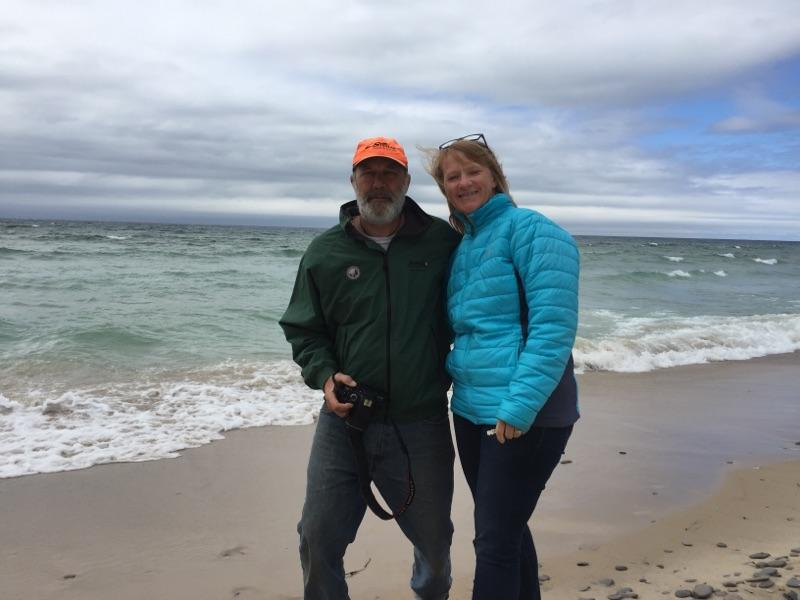 Joe and Peggy on Lake Michigan beach.