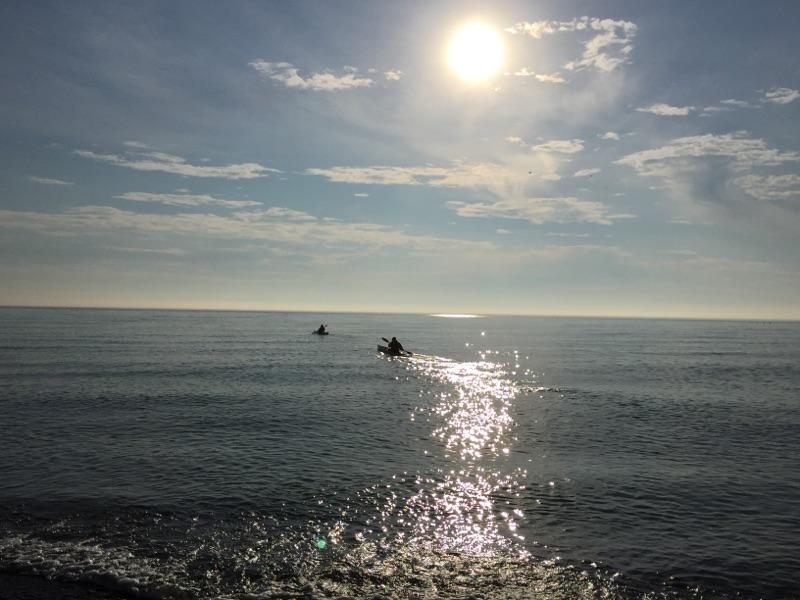 2 Kayakers by Illinois Beach State Park.