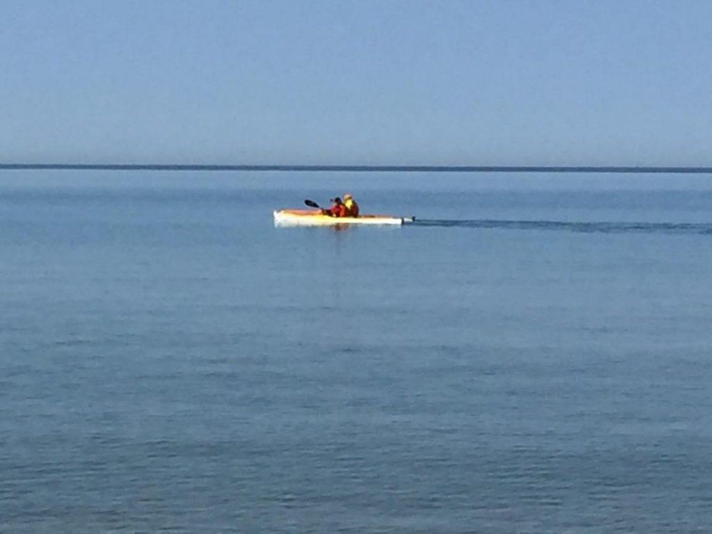 Kayaking off North Beach Park in Ferrysburg, Michigan.