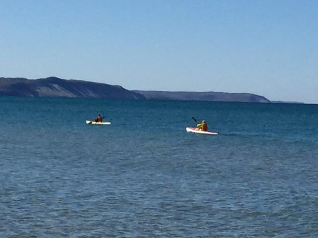 Kayaking on Lake Michigan just south of Frankfort, Michigan.