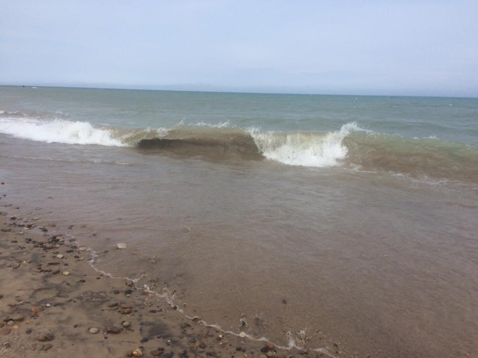 Heavy waves on Lake Michigan.