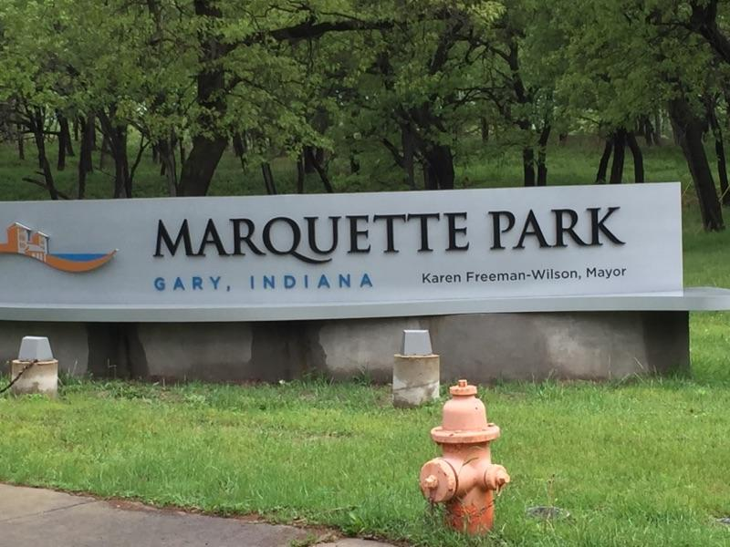 Marquette Park sign in Gary, Indiana.