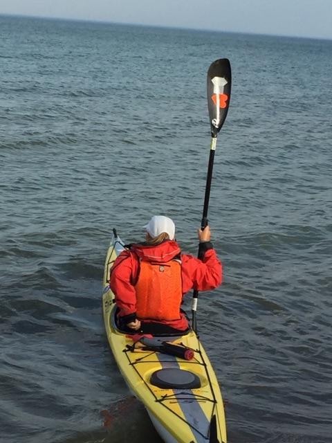 Peggy kayaking near Weko Beach Park.