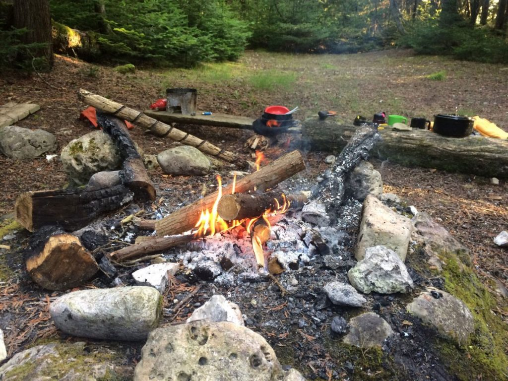 1st campfire since getting back out at at Straits State Park, St. Ignace, Michigan.