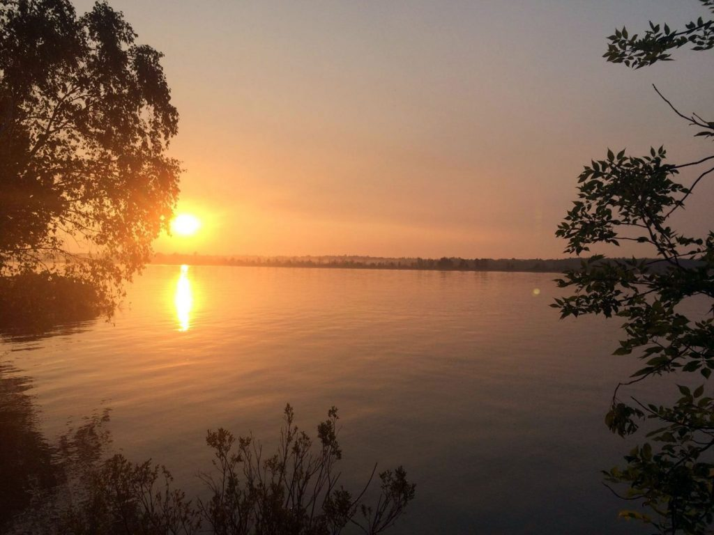Sunrise from an island near Sault Ste. Marie.