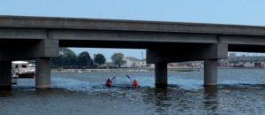 Kayaking out at Kewaunee, Wisconsin under a bridge.