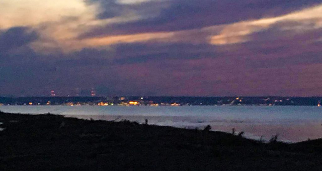 Duluth, Minnesota skyline at night as viewed from the Amnicon River.