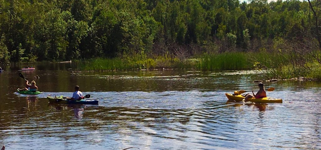 Family kayaking on the Amnicon, river.