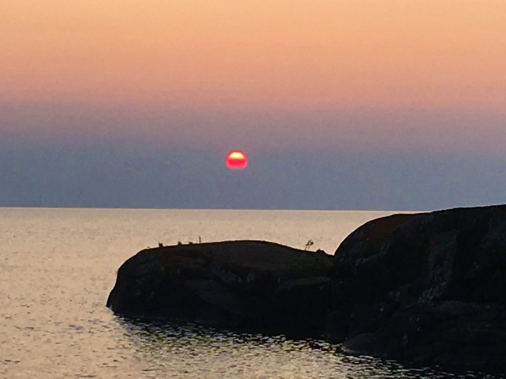 Sunset at Tettegouche State Park over Lake Superior.