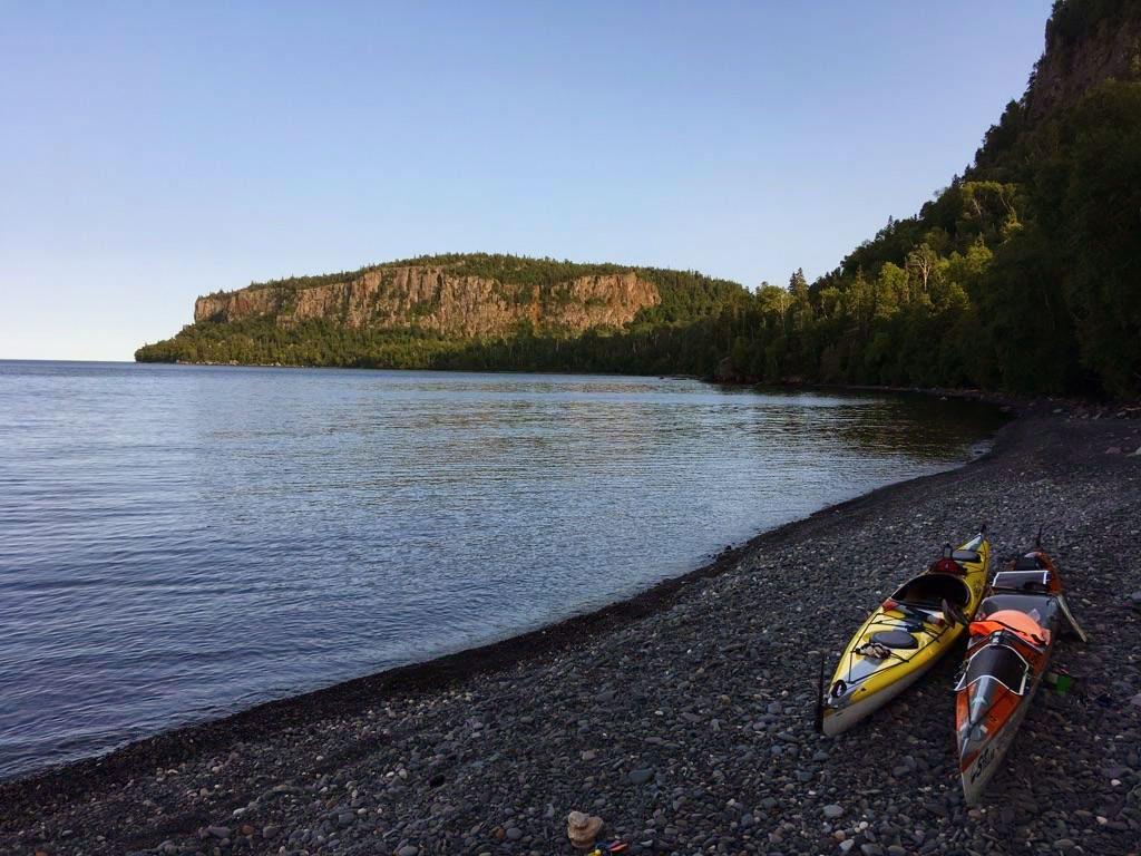 Kayaks on the shore of Sleeping Giant, Ontario, Canada.