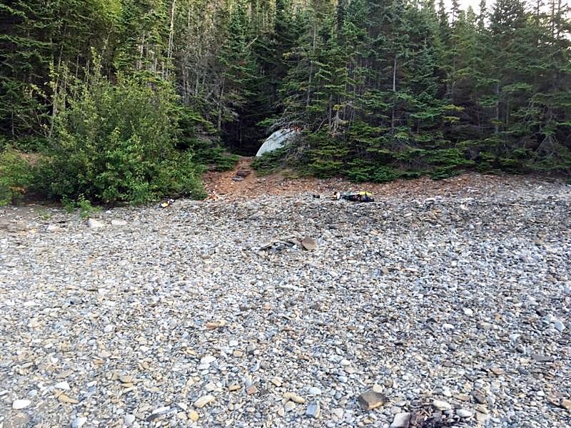 Pebbled shore of Thompson Island, Ontario, Canada.