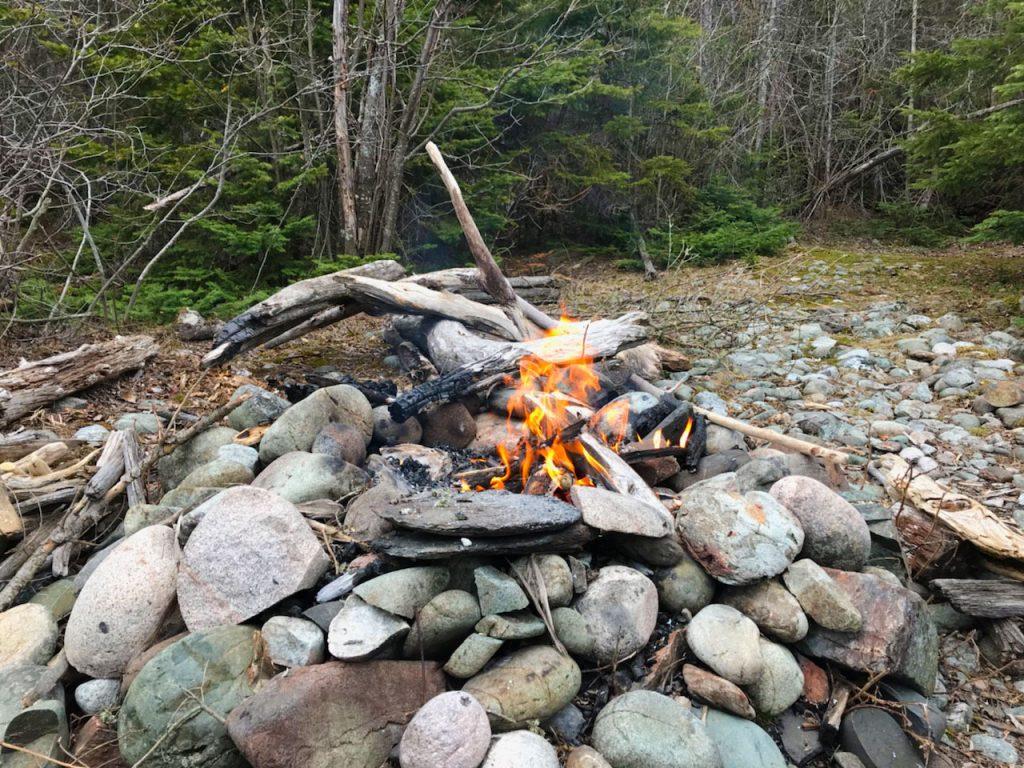Campfire near Lake Superior.
