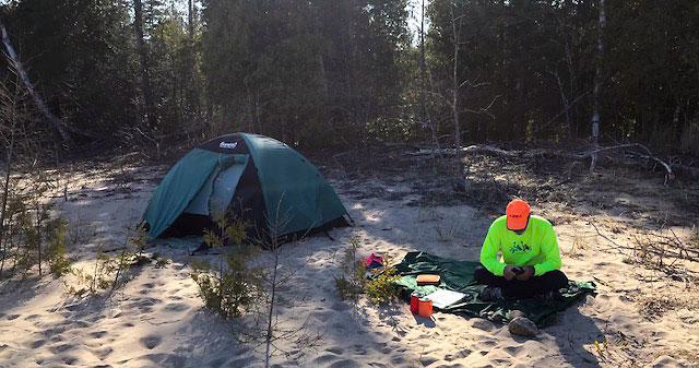 Camping near Bass Lake Johnswood, Michigan 5-18-18.