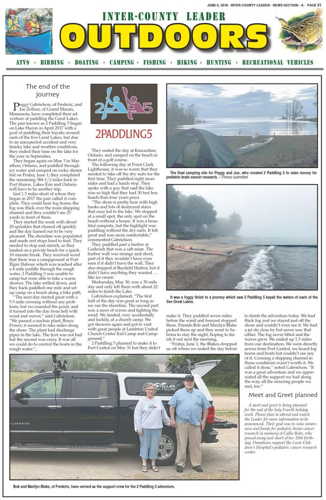 Inter-County Leader OUTDOORS: June 6th, 2018 Section A, page 21.